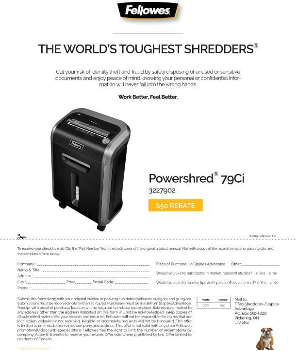 Fellowes Powershred Rebates & Offers